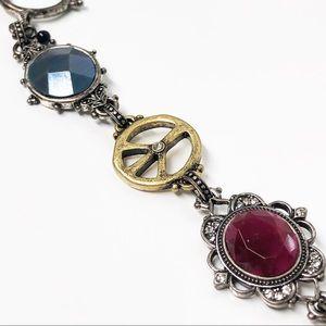 Lucky Brand Ornate Peace Sign Boho Bracelet